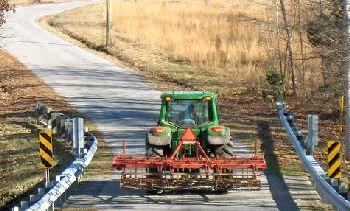 Farm tractors on roadways