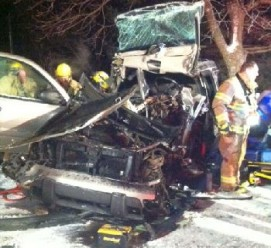 Minor Injuries In Head On Crash With County Snowplow Truck